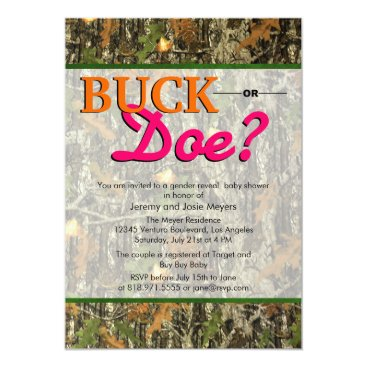 Camo Gender Reveal Invitations - Buck or Doe