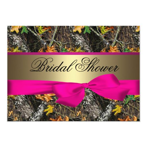 Camo & Hot Pink Bridal Shower Invitations
