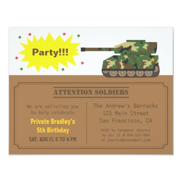 Camouflage Print Tank Boy Birthday Party Card