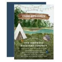 Camping Adventure Birthday Party Invitation
