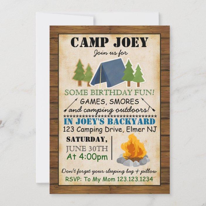 camping party invitation zazzle com