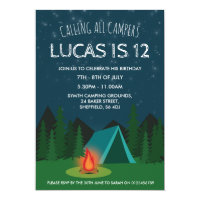 Camping themed birthday party invitation