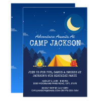 Camping Themed Outdoor Adventure Birthday Party Card