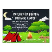 Campout Sleepover Custom Birthday Party Invitation