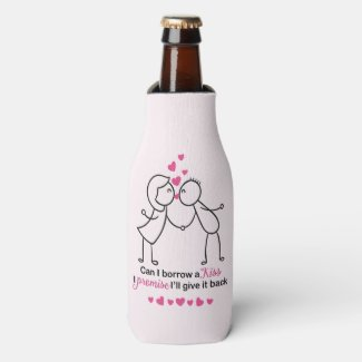 Can I Borrow a Kiss Cute Couple Design Bottle Cooler