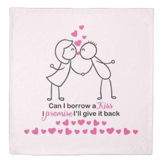 Can I Borrow a Kiss Cute Couple Design Duvet Cover