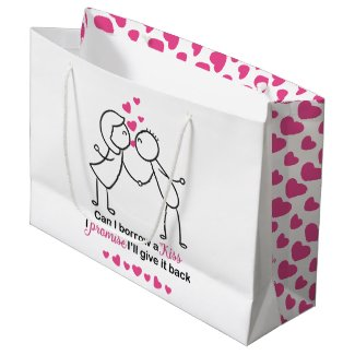 Can I Borrow a Kiss Cute Couple Design Large Gift Bag