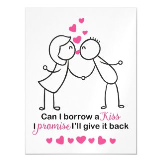Can I Borrow a Kiss Cute Couple Design Magnetic Card