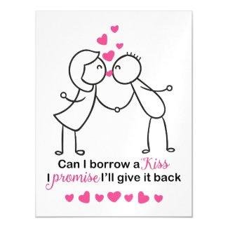 Can I Borrow a Kiss Cute Couple Design Magnetic Card