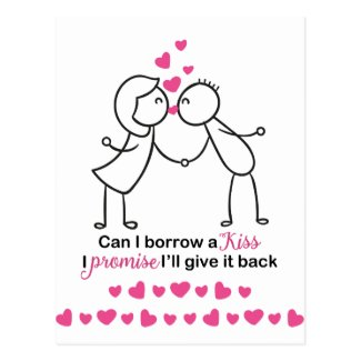Can I Borrow a Kiss Cute Couple Design Postcard