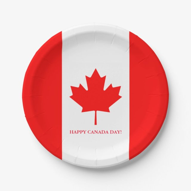 Canadian flag paper party plates for Canada Day