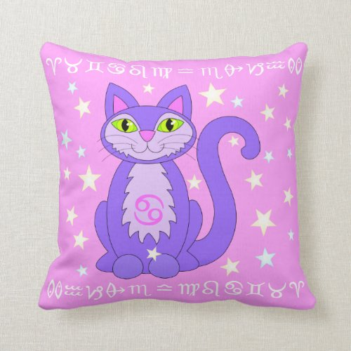Cancer Zodiac Cat Stars Horoscope Sign Pink Throw Pillow