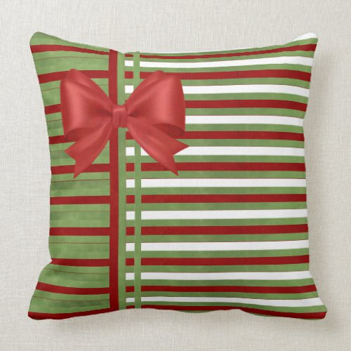 Candy Cane Stripes and Bow Throw Pillow
