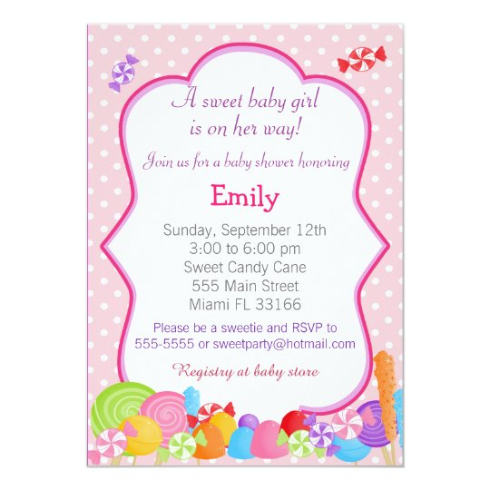 Candy Invitation Baby Shower Pink