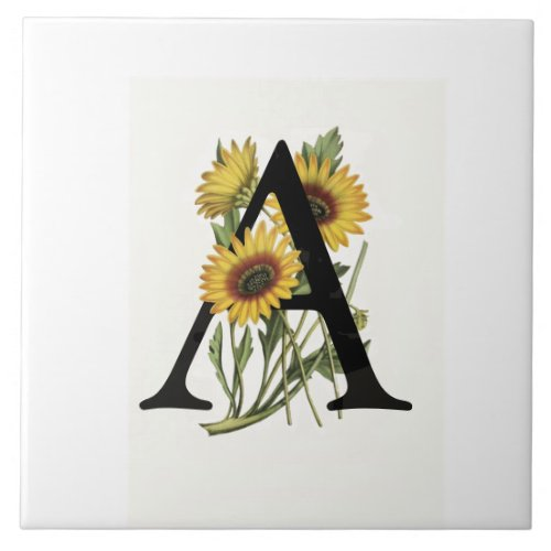 Cape Daisy Monogram A Ceramic Tile