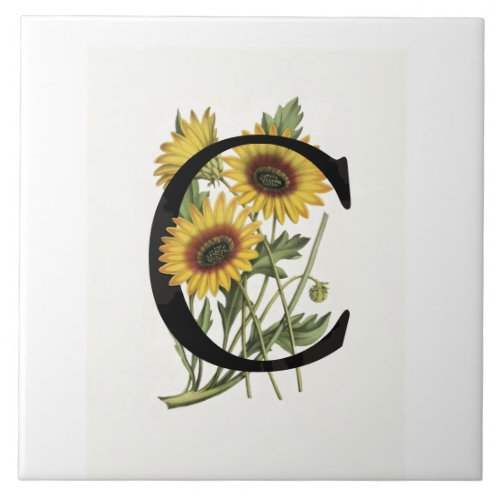 Cape Daisy Monogram C Ceramic Tile