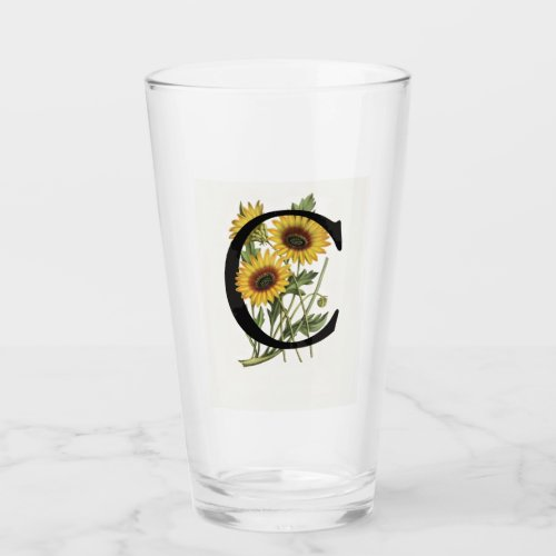 Cape Daisy Monogram C Drinking Glass