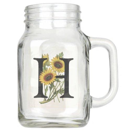 Cape Daisy Monogram H Mason Jar