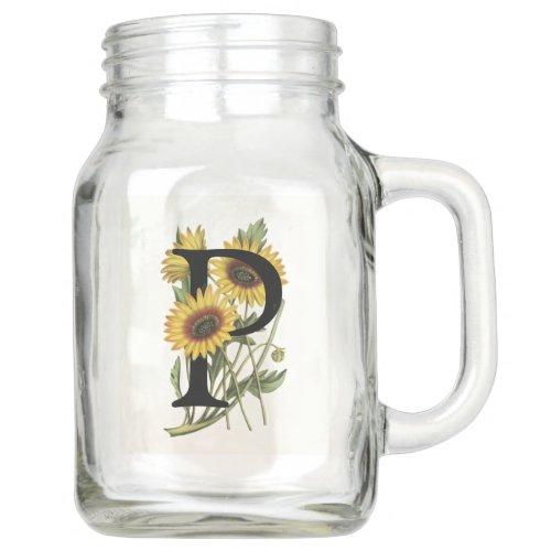 Cape Daisy Monogram P Mason Jar