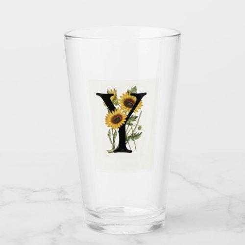 Cape Daisy Monogram Y Drinking Glass