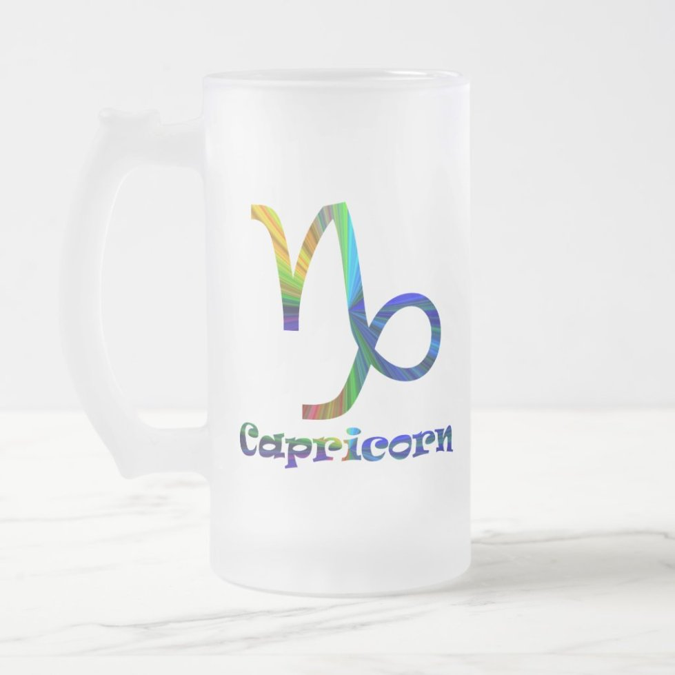 Capricorn Psychedelic Frosted Glass Beer Mug