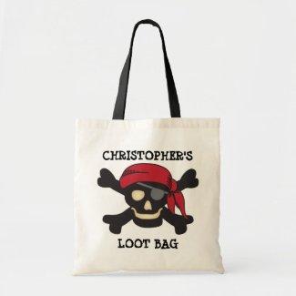 Captain Skull Pirate Loot Trick or Treat Bag