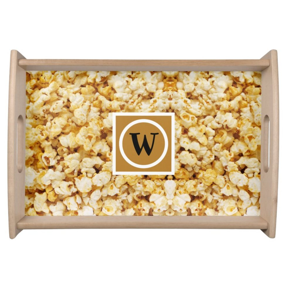 Caramel Popcorn Pattern Monogram Serving Tray