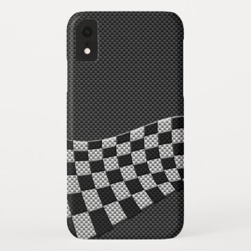 Carbon Fiber Style Checkered Racing Flag Wave iPhone XR Case