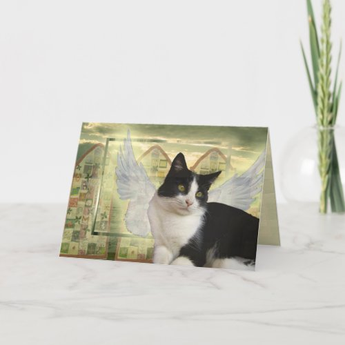 Card | With deepest Sympathy Angel Cat Card