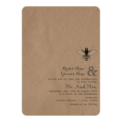 Cardstock Inspired Honey Bee Wedding Invitation