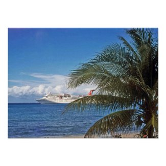 Carnival cruise ship docked at Grand Cayman Island Poster