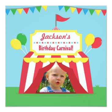 Carnival Themed Kids Birthday Party Photo Invitation