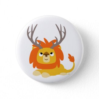 Cartoon Antlered Lion button badge button