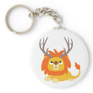 Cartoon Antlered Lion keychain keychain