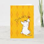 """❤️ Cute Cartoon Bull Terrier """"Thank you!"""" Greeting Card"""