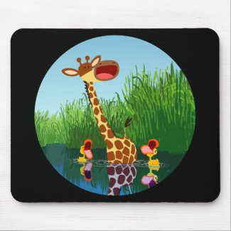 Cartoon Giraffe&Ducks (through telescope) Mousepad mousepad