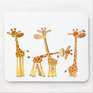 Cartoon Giraffes: The Herd mousepad mousepad