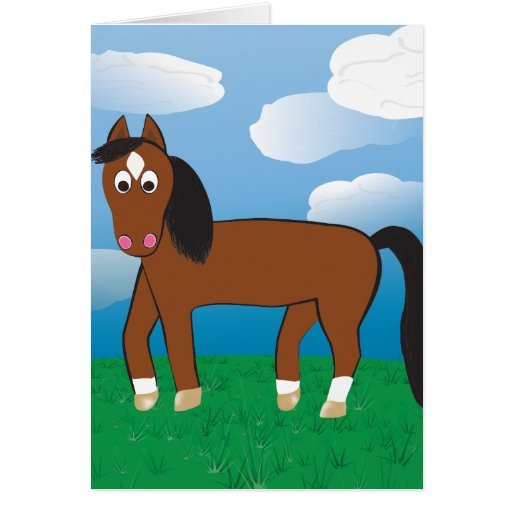 Cartoon Horse Bay with white socks Card