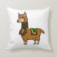 Cartoon Llama Throw Pillow