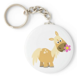 Cartoon Pony and Flower keychain keychain