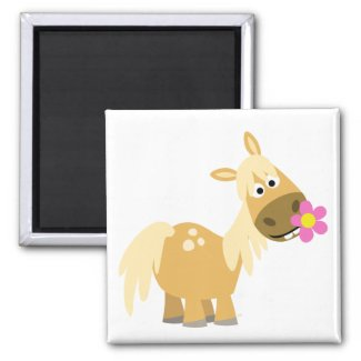 Cartoon Pony and Flower magnet magnet