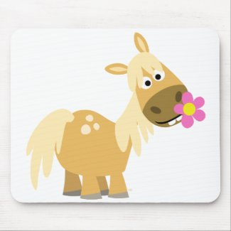 Cartoon Pony and Flower mousepad mousepad