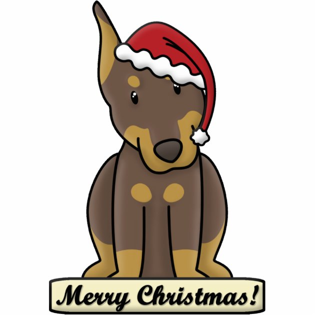 Cartoon Red Doberman Pinscher Christmas Ornament