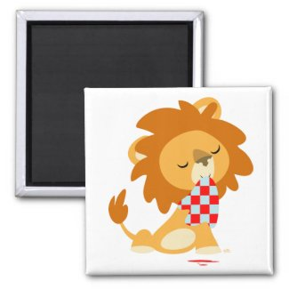 Cartoon Satiated Lion fridge magnet magnet