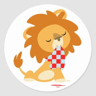Cartoon Satiated Lion sticker sticker