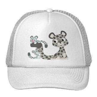 Cartoon Snow Leopard and Cubs Hat hat