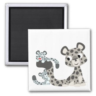 Cartoon Snow Leopard and Cubs Magnet magnet