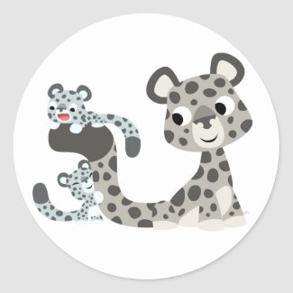 Cartoon Snow Leopard and Cubs Sticker sticker