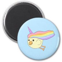 Cartoon Unicorn-Chicken Round Magnet