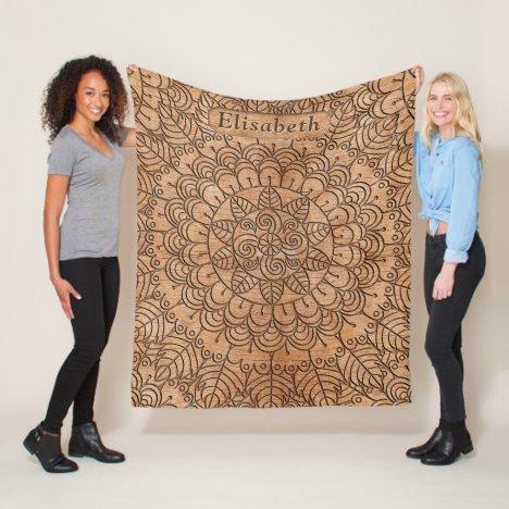 Carved Wood Floral Circles Mandala Style Add Name Fleece Blanket
